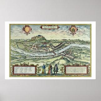 rの銀行のザルツブルク市の眺め ポスター