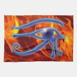 RA及び炎の古代エジプト人のWadjetの記号の目 キッチンタオル