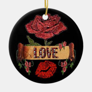 RABのロカビリーのバラ、愛及び口紅 セラミックオーナメント