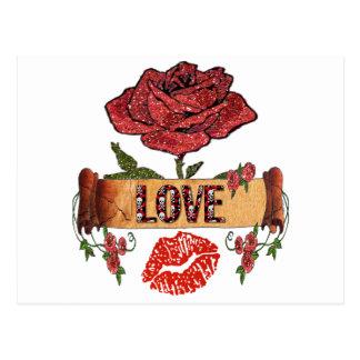 RABのロカビリーのバラ、愛及び口紅 ポストカード