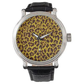 RABのロカビリーの金ゴールドのブラウンのヒョウのプリントデザイナー 腕時計