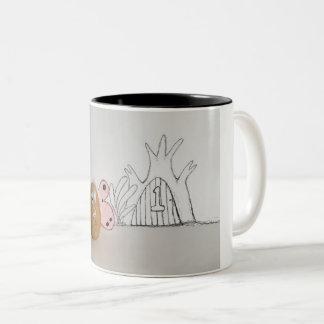 Rabbitswoodのポテトの妖精の第1おもしろマグカップ ツートーンマグカップ