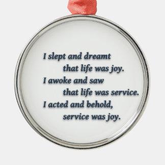Rabindranath Tagore著生命引用文-私は…眠り、 メタルオーナメント