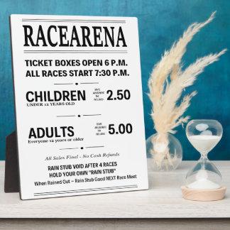 Racearenaの切符売り場ポスタープラカードの正方形 フォトプラーク