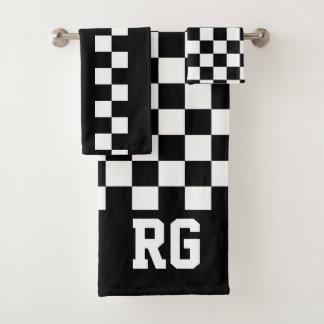 Racing Flag Black White Checkered Personalized バスタオルセット