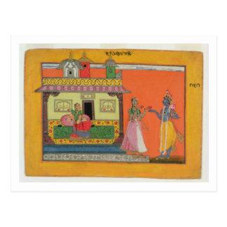 Radhaの家、イラストレーションfrで着くKrishna ポストカード