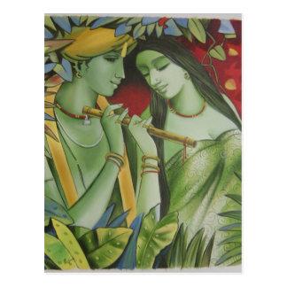 RADHA KRISHNAの油絵 ポストカード