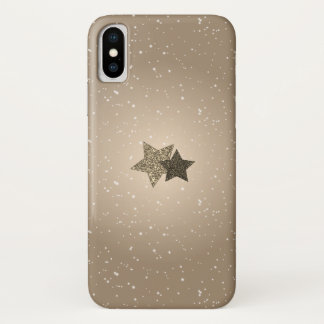 Radiant Gold Glitter Stars Snowy iPhone X Case iPhone X ケース