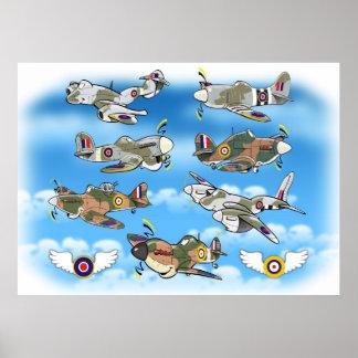 RAFの有名な第2次世界大戦の戦闘機 ポスター