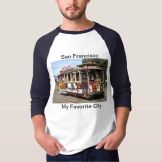 Raglan、袖3/4の、青、サンフランシスコのケーブル・カー Tシャツ