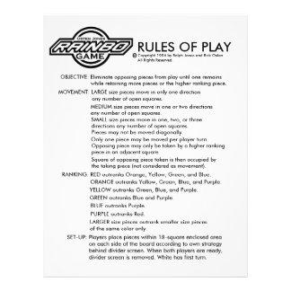 RAINBOのゲームの規則 チラシ