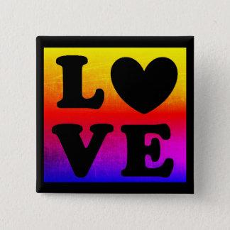 Rainbow LGBT Heart Love Button 5.1cm 正方形バッジ
