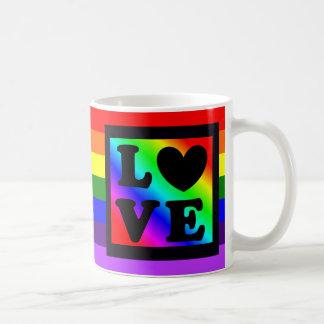 Rainbow LGBT Heart Love Button Coffee Mug コーヒーマグカップ