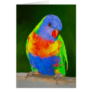 Rainbow Loriket Colourful Parrot Bird Water Color カード