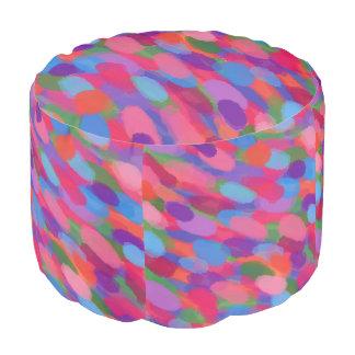 Rainbow Raindrops Abstract Pattern Pouf プーフ