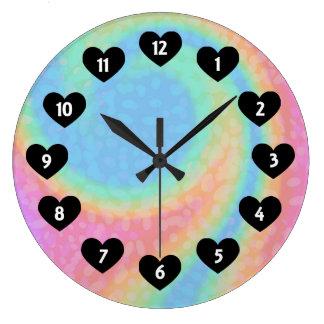 Rainbow Swirl With Heart Wall Clock ラージ壁時計