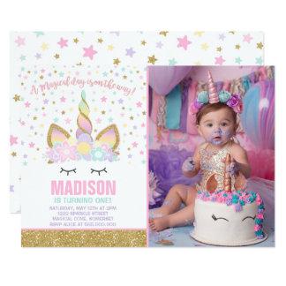 Rainbow Unicorn Birthday Invitation Pink Gold カード