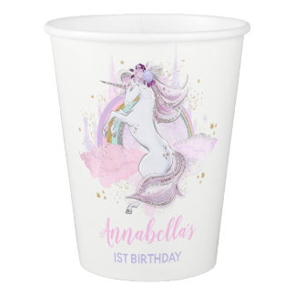 Rainbow Unicorn Birthday Paper Cup Pink Gold Cup 紙コップ