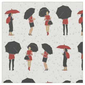 Rainy Day Women in Red and Black Umbrellas Fabric ファブリック