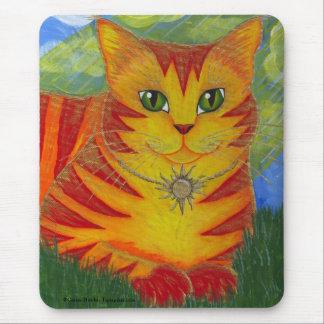 Rajahの金金ゴールドの日曜日猫のファンタジーの芸術のマウスパッド マウスパッド