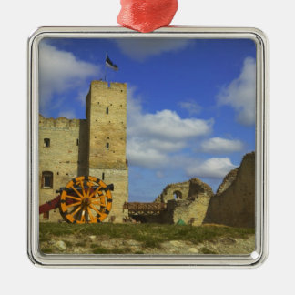 Rakvereの中の城、Rakvere、エストニア シルバーカラー正方形オーナメント
