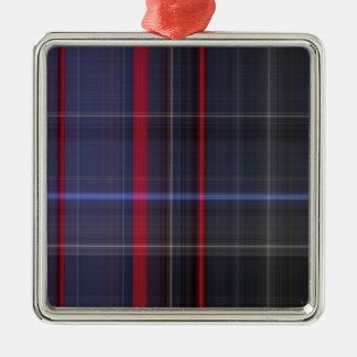 Ralphiesの好みの格子縞 シルバーカラー正方形オーナメント