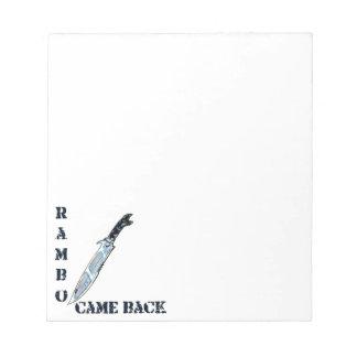 ramboはイラストレーションナイフの漫画のスタイルのもどって来ました ノートパッド