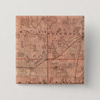 Ramsey郡、ミネソタの地図 5.1cm 正方形バッジ