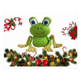 Rana de ganchillo para Navidad con sus dulces .... ポストカード