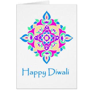 Rangoliパターンが付いているDiwaliの挨拶状 カード