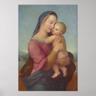 Raphaelによるマドンナそして子供(テンポマドンナ) ポスター