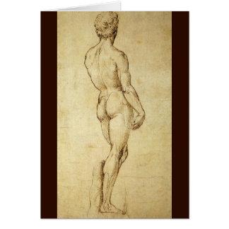 Raphaelによるミケランジェロのデイヴィッドの彫像の勉強 カード