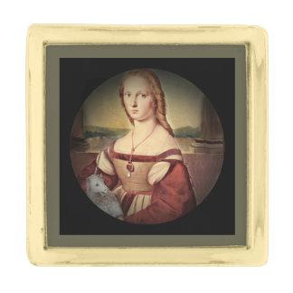 Raphaelによる女性そしてユニコーン ゴールド ラペルピン
