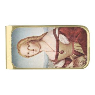 Raphaelによる女性そしてユニコーン 金色 マネークリップ