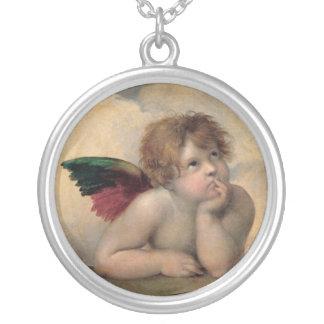 RaphaelによるSistineマドンナからの天使 シルバープレートネックレス