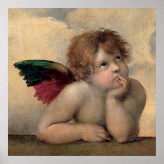 RaphaelによるSistineマドンナからの天使 ポスター