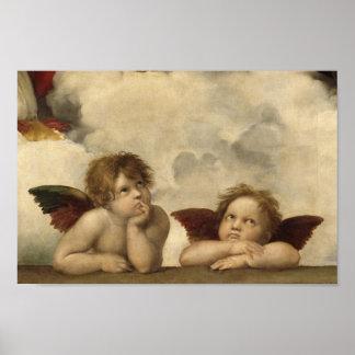 RaphaelによるSistineマドンナの天使 ポスター