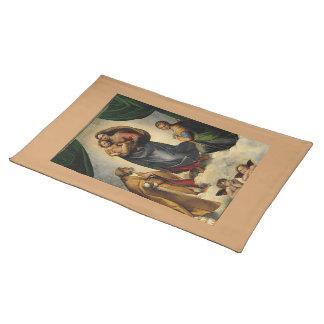 """Raphaelのクラシックな""""Sistineマドンナ"""" (1513年頃) ランチョンマット"""