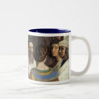 Raphaelのヴィンテージのルネサンスによるアテネの学校 ツートーンマグカップ