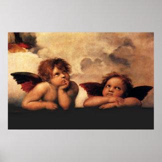 Raphaelの天使Sistineマドンナ2つの天使 ポスター