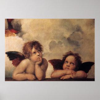 RaphaelのSistineの天使 ポスター
