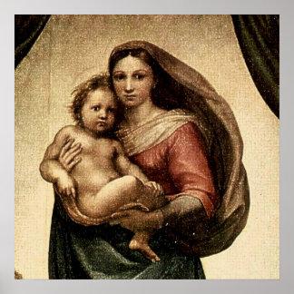 """Raphael's """"Sistineマドンナ""""の詳細(1513年頃) ポスター"""