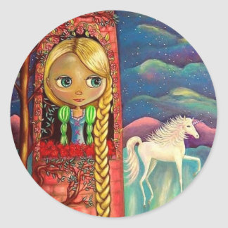 Rapunzelおよびユニコーンのステッカー ラウンドシール
