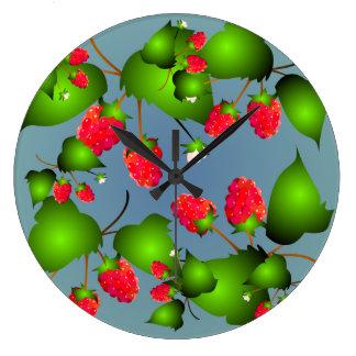Rasberryのフルーツパターン柱時計 ラージ壁時計