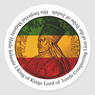 Rasta Sticker Conquering Lion of Judah His Majesty ラウンドシール