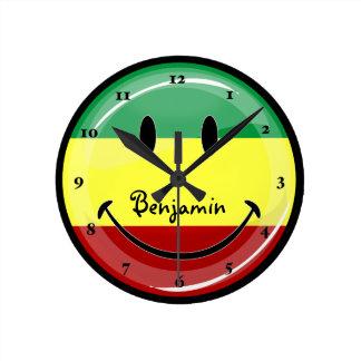 Rastafarianの微笑の旗 ラウンド壁時計
