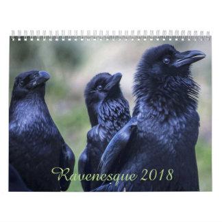 Ravenesqueの魔法の鳥2018 18か月のカレンダー カレンダー
