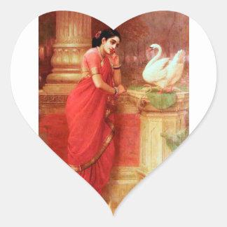Ravi Varmaの絵画Hamsa Dhayamthi ハートシール