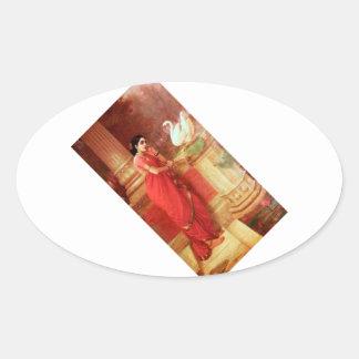 Ravi Varmaの絵画Hamsa Dhayamthi 楕円形シール