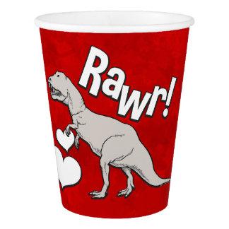 Rawrのティラノサウルス・レックスTのレックスのバレンタインデーは男の子をからかいます 紙コップ